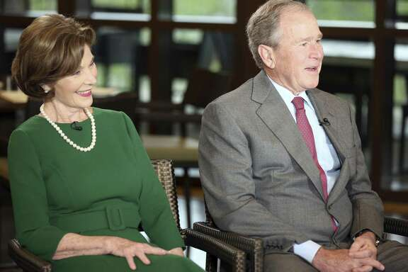 "Former President George W. Bush and Laura Bush are interviewed by host Maria Bartiromo on the ""Mornings with Maria Bartiromo"" program on the Fox Business Network at the George W. Bush Presidential Library, Wednesday, April 18, 2018, in Dallas."