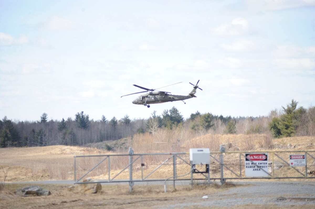 Local officials, members of the media and invited guests arrive at Fort Drum?'s Range 48 via UH-60 Black Hawks on April 9, 2018, to get a better perspective on the 10th Combat Aviation Brigade?'s Falcon?'s Peak training exercise.