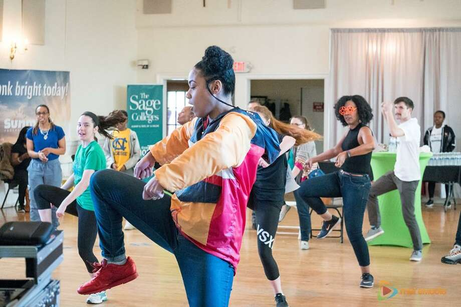 Carmen Duncan, founder and chief coach at Mission Accomplished Transition Services, far left, partcipates in an eight-hour dance marathon in 2017. The biennial event is the nonprofit's largest fundraiser. (Submitted photo)