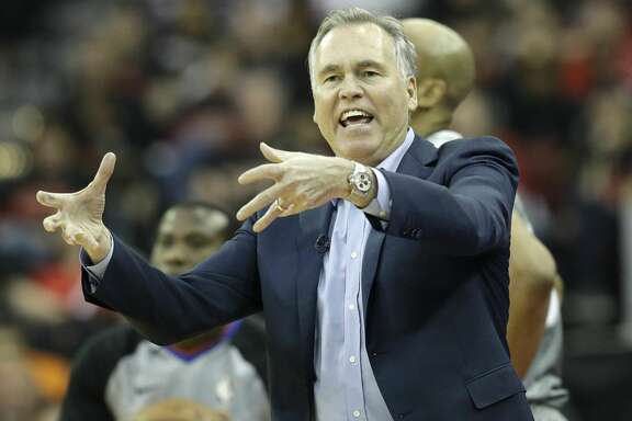Houston Rockets' head coach Mike D'Antoni reacts during the first half in Game 1 of a first-round NBA basketball playoff series against the Minnesota Timberwolves, Sunday, April 15, 2018, in Houston. (AP Photo/David J. Phillip)