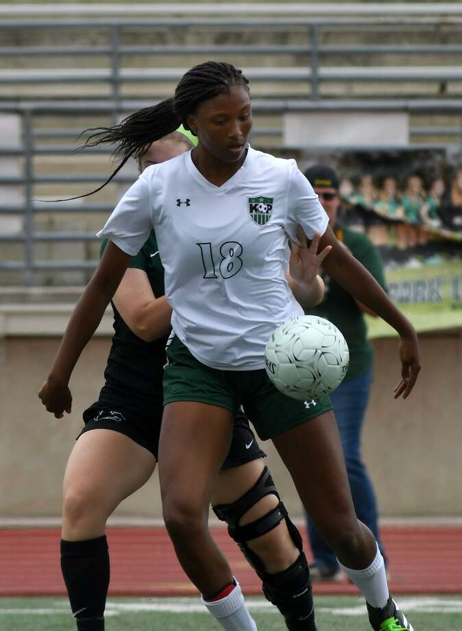 Kingwood Park junior midfielder Allie Byrd (18) makes a play against Cedar Park junior defender Ainsley Forbes during the first half of their UIL Region III-5A Girls Soccer semi-final matchup at Turner Stadium on April 13, 2018. (Photo by Jerry Baker/Freelance) Photo: Jerry Baker, Freelance / For The Chronicle / Freelance