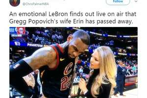 An emotional LeBron finds out live on air that Gregg Popovich's wife Erin has passed away.