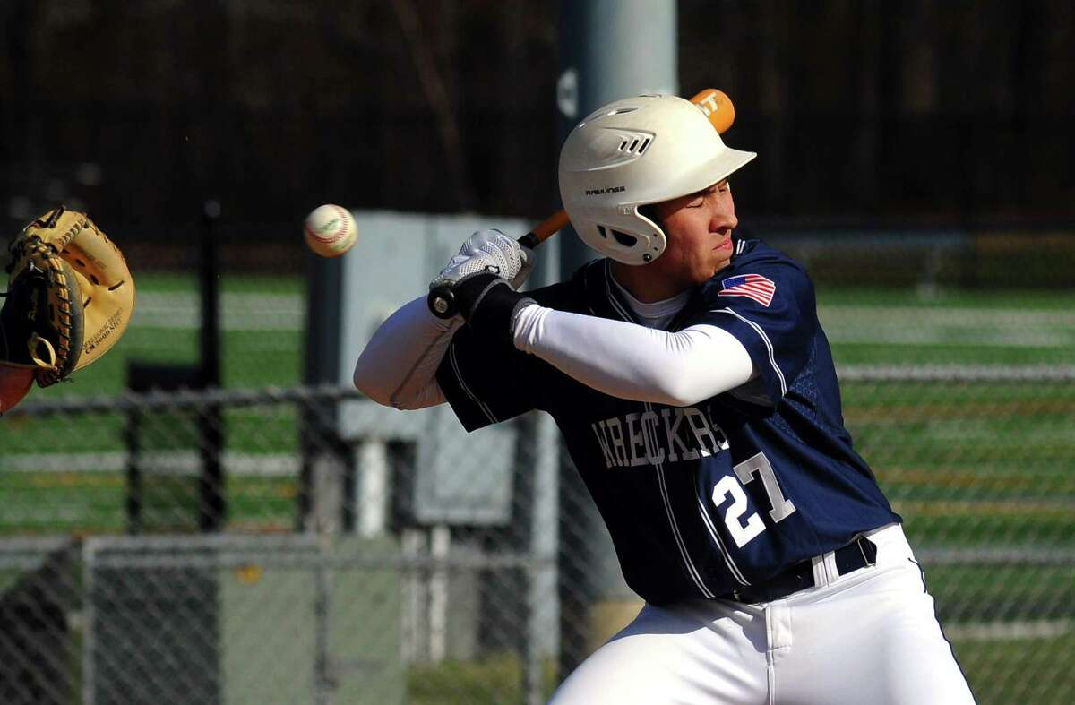 Boys baseball action between Staples and Trumbull in Trumbull, Conn., on Wednesday Apr. 18, 2018.