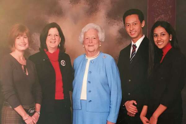 From left, Director of Development Troye Skipworth, Director of Communications Deb Spiess, Mrs. Bush, Brian Ng (Cooper Class of '06) and Aarti Iyer (Cooper Class of '07) are pictured at the first Signatures Series luncheon in 2005.