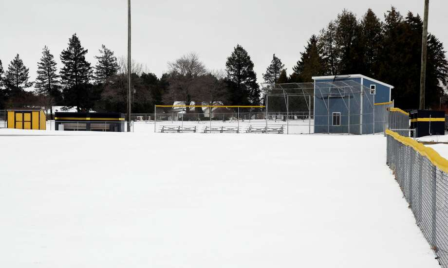 These pictures taken Monday, show the snow that has accumulated on Turmell Field, in Bad Axe. The brutal weather has prevented the Hatchets and other teams from around the area, from playing games.  Photo: Mike Gallagher/Huron Daily Tribune