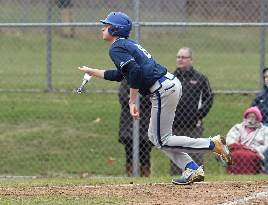 Saratoga's Brian Hart (8) hits a home run against Columbia during a Section II high school baseball game Wednesday, April 18, 2018, in East Greenbush, N.Y. (Hans Pennink / Special to the Times Union) Photo: Hans Pennink / Hans Pennink