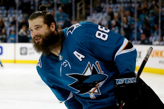 San Jose Sharks' Brent Burns (88) skates on the ice during warmups before game against Anaheim Ducks in Game 4 of an NHL first round playoff series on Wednesday, April 18, 2018 at the SAP Center in San Jose, California.