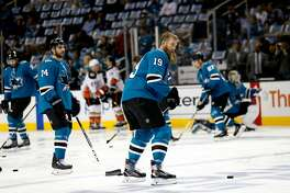 San Jose Sharks' Joe Thornton (19) skates on the ice during warmups before game against Anaheim Ducks in Game 4 of an NHL first round playoff series on Wednesday, April 18, 2018 at the SAP Center in San Jose, California.
