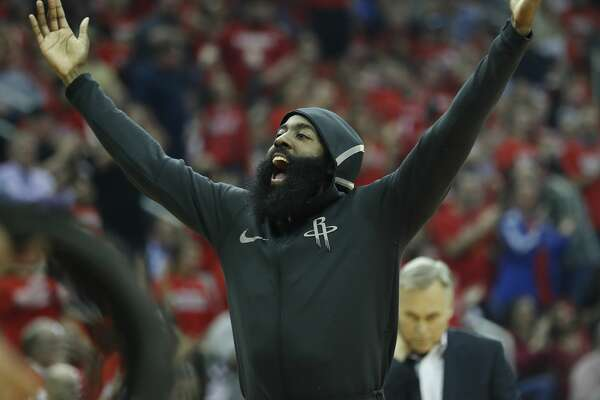 Houston Rockets guard James Harden (13) reacts from the bench during the first half of Game 2 of an NBA basketball first-round playoff series at Toyota Center on Wednesday, April 18, 2018, in Houston. ( Brett Coomer / Houston Chronicle )
