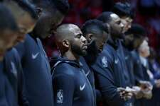 Houston Rockets guard Chris Paul (3) during a moment of silence for Barbara Bush before the start of Game 2 of an NBA basketball first-round playoff series at Toyota Center on Wednesday, April 18, 2018, in Houston. ( Brett Coomer / Houston Chronicle )