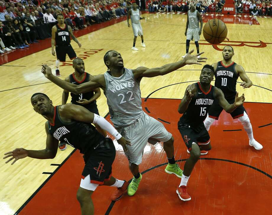The Rockets' team defense harried Andrew Wiggins and the Timberwolves in a blowout victory Wednesday night in Game 2 of their first-round playoff series. Photo: Brett Coomer/Houston Chronicle