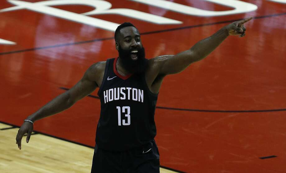 James Harden may have had a subpar shooting game, but his teammates gave him plenty to celebrate during the Rockets' Game 2 win Wednesday night. Photo: Michael Ciaglo/Houston Chronicle