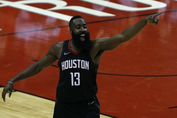 Houston Rockets guard James Harden (13) reacts as the Houston Rockets take on the Minnesota Timberwolves in the second half of Game 2 of the first round of the NBA Playoffs at the Toyota Center Wednesday, April 18, 2018 in Houston. (Michael Ciaglo / Houston Chronicle)