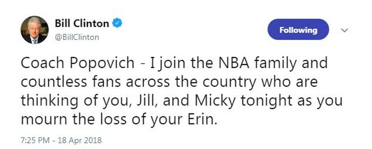 Coach Popovich - I join the NBA family and countless fans across the country who are thinking of you, Jill, and Micky tonight as you mourn the loss of your Erin.