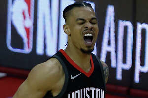 Houston Rockets guard Gerald Green (14) reacts as the Houston Rockets take on the Minnesota Timberwolves in the second half of Game 2 of the first round of the NBA Playoffs at the Toyota Center Wednesday, April 18, 2018 in Houston. (Michael Ciaglo / Houston Chronicle)