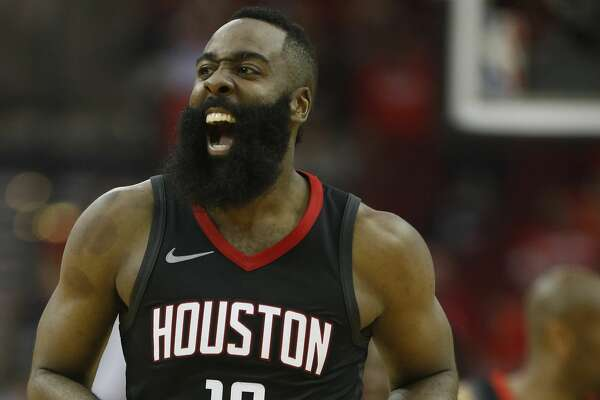 Houston Rockets guard James Harden (13) reacts during the second half of Game 2 of an NBA basketball first-round playoff series at Toyota Center on Wednesday, April 18, 2018, in Houston. ( Brett Coomer / Houston Chronicle )