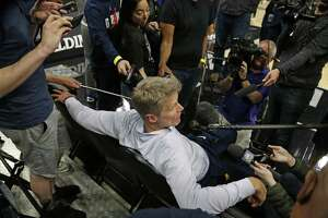 Steve Kerr head coach of the Golden State Warriors meets with the media. Golden State Warriors practice at the AT&T Center on Wednesday, April 18 ,2018.