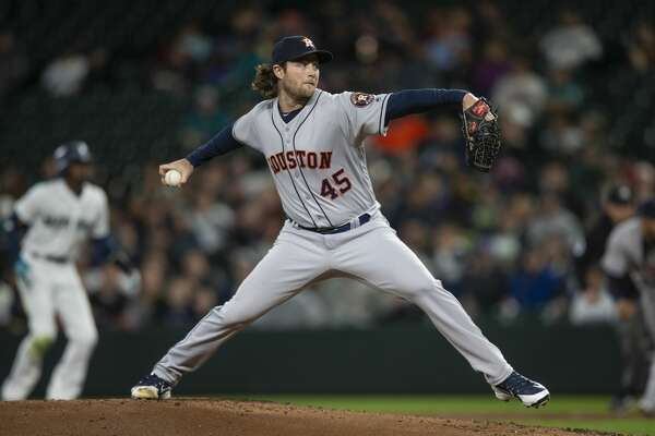 SEATTLE, WA - APRIL 18: Starter Gerrit Cole #45 of the Houston Astros delivers a pitch during the first inning of a game against the Seattle Mariners at Safeco Field on April 18, 2018 in Seattle, Washington. (Photo by Stephen Brashear/Getty Images)
