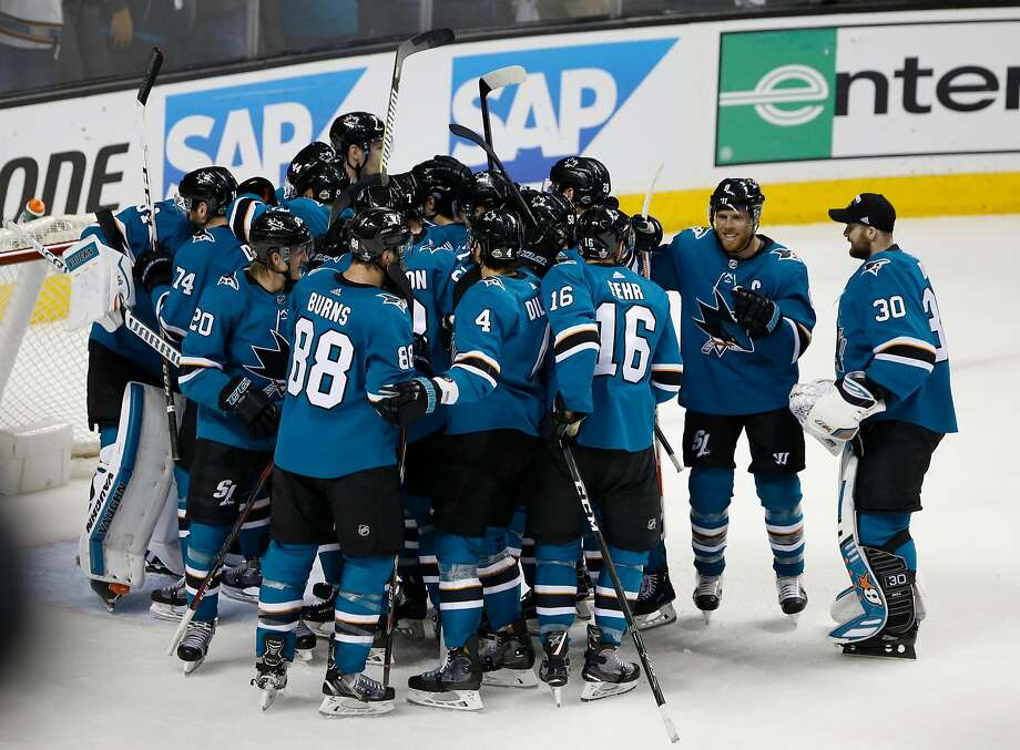 San Jose Sharks celebrate a 2-1 win against Anaheim Ducks in the third period of Game 4 of an NHL third round playoff series on Wednesday, April 18, 2018 at the SAP Center in San Jose, California. Photo: Josie Lepe / Special To The Chronicle