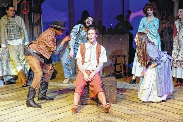 "Members of the cast of the Illinois College TheatreWorks musical ""The Robber Bridegroom"" rehearse Tuesday in McGaw Fine Arts Center's Sibert Theatre on campus."