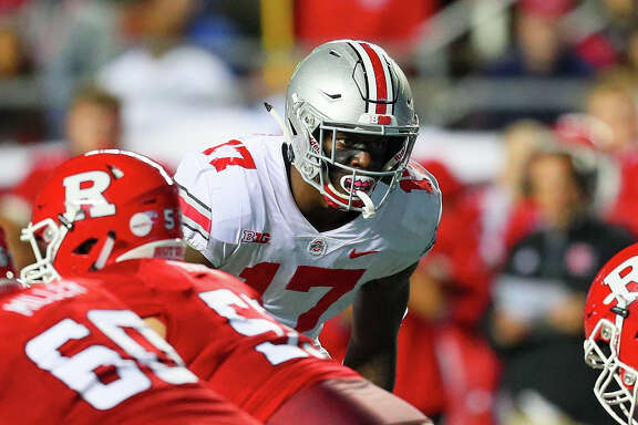 PISCATAWAY, NJ - SEPTEMBER 30:  Ohio State Buckeyes linebacker Jerome Baker (17) during the BIG10 College Football game between the Rutgers Scarlet Knights and the Ohio State Buckeyes on September 30, 2017, at High Point Solutions Stadium in Piscataway, NJ  (Photo by Rich Graessle/Icon Sportswire via Getty Images)