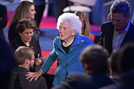 Barbara Bush, former first lady, leaves after her son Jeb Bush, former governor of Florida and 2016 Republican presidential candidate, participated in a town hall event hosted by CNN at the University of South Carolina in Columbia, South Carolina, on Feb. 17, 2016.