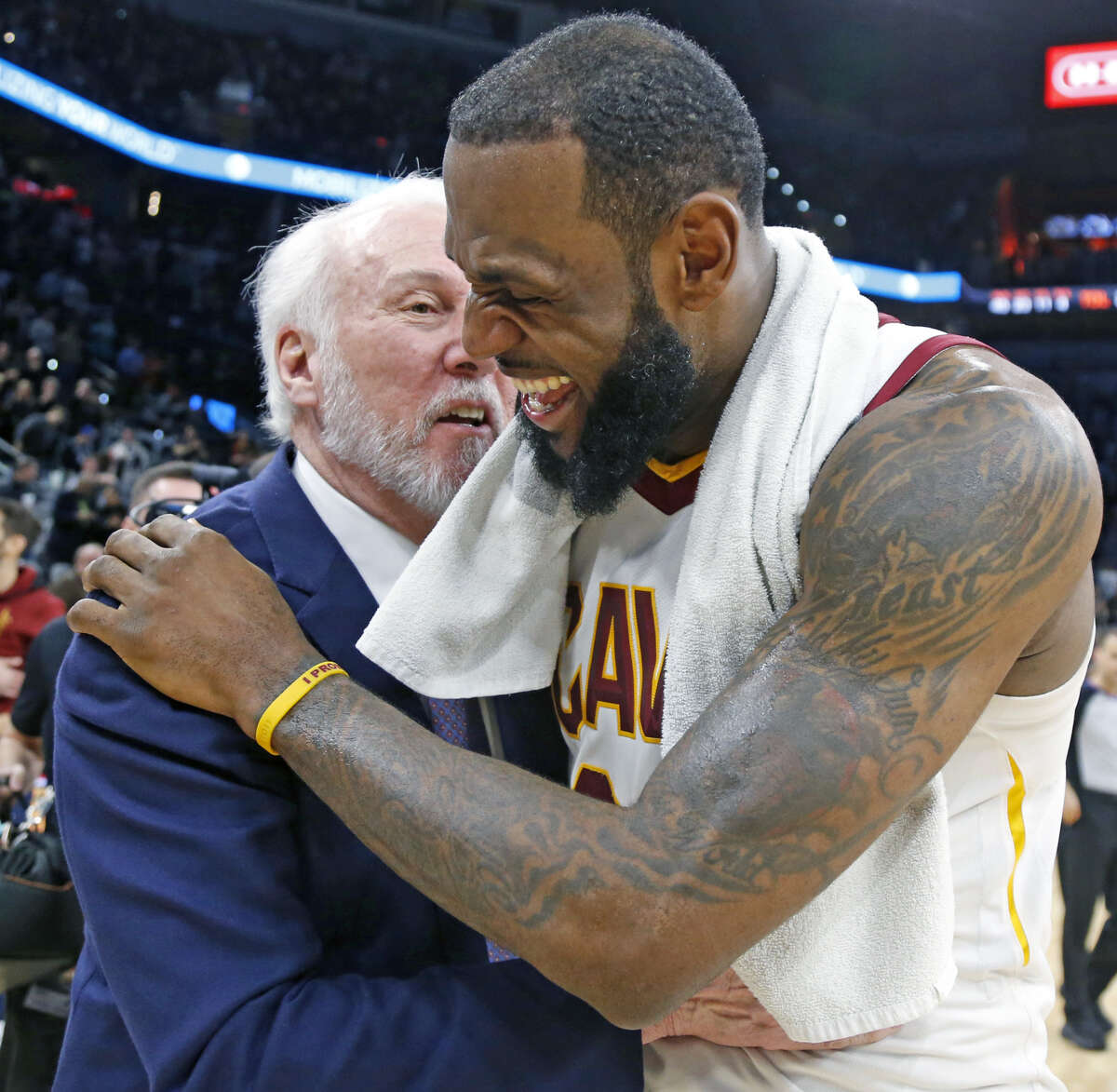 LeBron James, of the Cleveland Cavaliers, took time to send condolences to Spurs Coach Gregg Popovich and his family following the loss of his wife and to defend sideline reporter Allie LaForce.