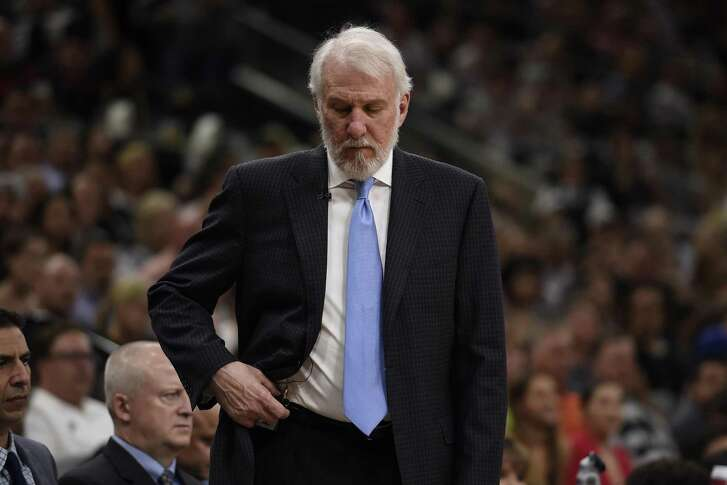 San Antonio Spurs head coach Gregg Popovich walks on the sideline during the second quarter of Game 4 of the NBA Western Conference Finals against the Golden State Warriors on Monday, May 22, 2017 at AT&T Center in San Antonio, Texas. (Jose Carlos Fajardo/Bay Area News Group/TNS)