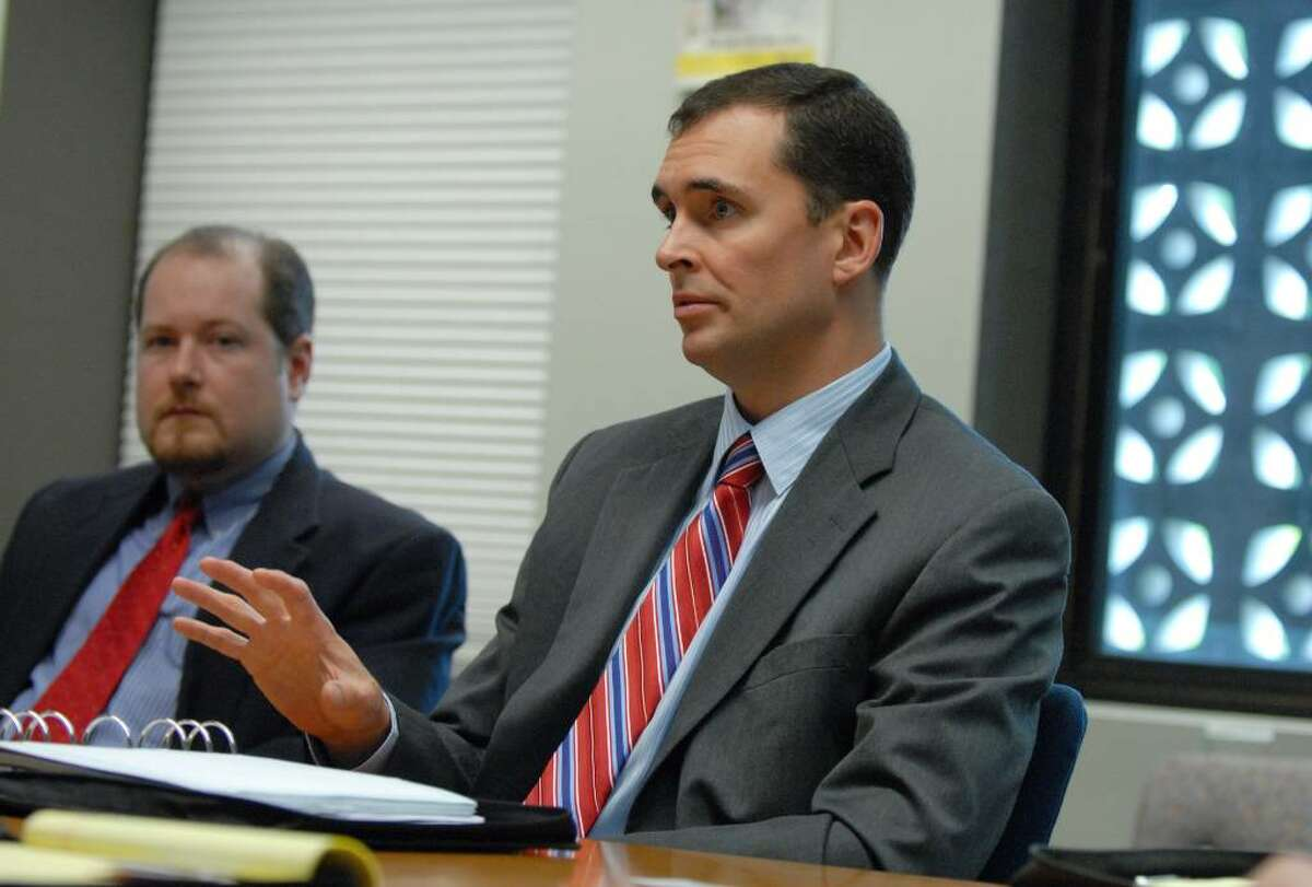 Maurice O'Connell,right, resident vice president for CSX Transportation, speaks during a Times Union editorial board meeting, Wednesday, June 23, 2010. (Will Waldron / Times Union)