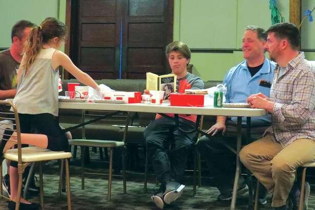 "The cast of ""Little Miss Sunshine"" rehearses a dinner scene."