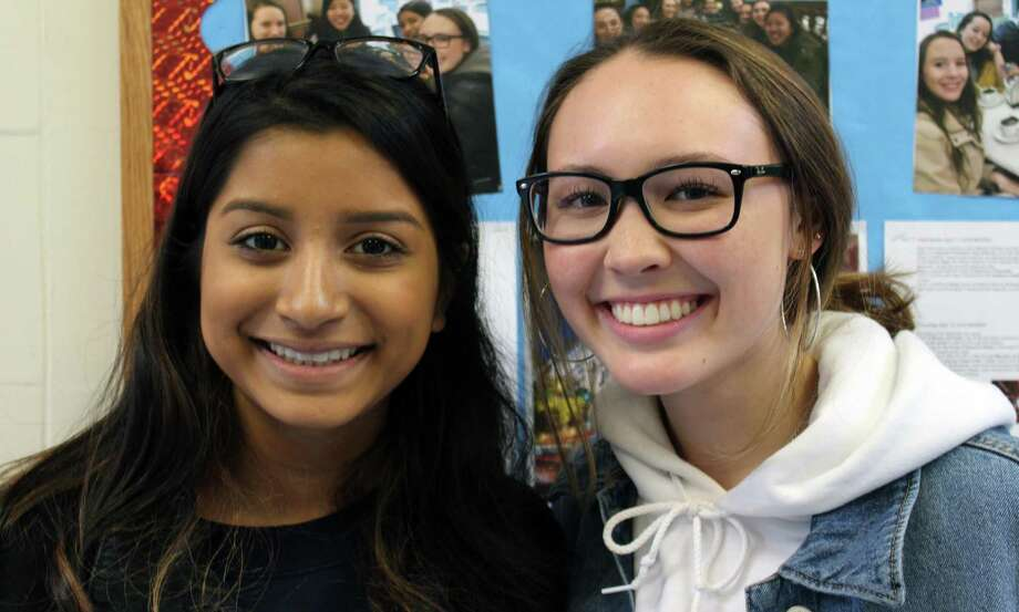 Fairfield Warde seniors Shimul Banik and Emily Healy, both 17, who spent their April break in Spain. At Fairfield Warde High School, April 17, 2018. Photo: Justin Papp / Hearst Connecticut Media / Fairfield Citizen