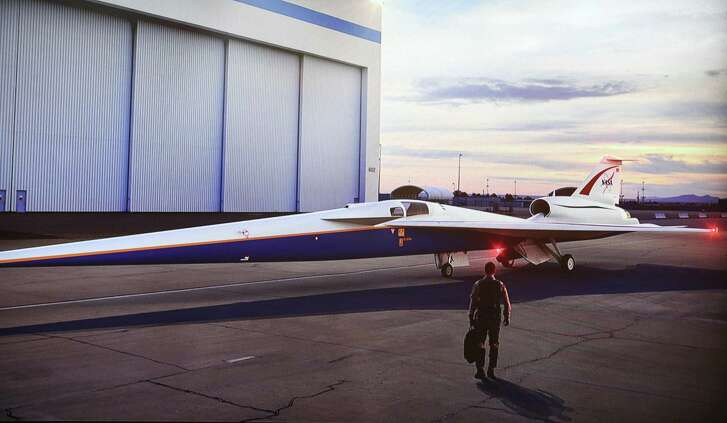 A Lockheed Martin artist rendering of a NASA X-plane was on display during a NASA's Commercial Supersonic Technology Project press conference at Scholes Field Terminal Tuesday, April 17, 2018, in Galveston. NASA held a news conference to unveil plans to conduct a series of supersonic technology research flights over the Galveston, Texas, area, in support of the agency's Commercial Supersonic Technology Project. The flights, which will take off from nearby Ellington Airport, will take place in November 2018, and feature a NASA F/A-18 aircraft performing a series of supersonic dive maneuvers off the coast.( Lockheed Martin )