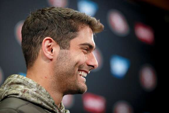 San Francisco 49ers quarterback Jimmy Garoppolo speaks during a news conference in Santa Clara, Calif., Wednesday, Nov. 29, 2017. The Niners announced Garoppolo is set to make his first start on the road this week against the Chicago Bears.