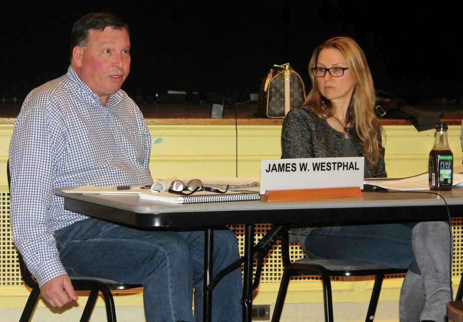 Westport Board of Finance members James Westphal and Sheri Gordon discuss the school budget at the April 18 Board of Finance meeting. Photo: Sophie Vaughan / Hearst Connecticut Media / Westport News