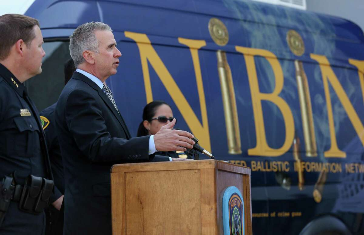 ATF Special Agent in Charge Fred Milanowski talks about the mobile National Integrated Ballistic Information Network (NIBIN) van that was unveiled during a press conference Thursday, April 19, 2018, in Houston. Police hope the unit will help them respond to shooting cases more quickly, and is part of an effort by the federal agency to help local municipalities crack down on gun crime.