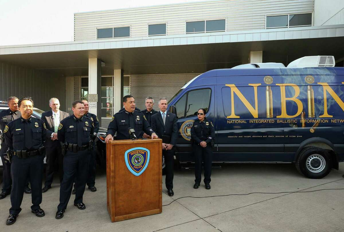 Houston Police Chief Art Acevedo talks about the ATFs mobile National Integrated Ballistic Information Network (NIBIN) van Thursday, April 19, 2018, in Houston. The ATF Houston Field Division and the Houston Police Department unveiled the NIBIN van Thursday. Police hope the unit will help them respond to shooting cases more quickly, and is part of an effort by the federal agency to help local municipalities crack down on gun crime.