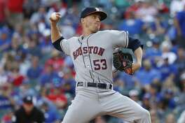 Houston Astros relief pitcher Ken Giles (53) pitches in the ninth inning of  Opening Day at Globe Life Park, Thursday, March 29, 2018, in Arlington.   ( Karen Warren / Houston Chronicle )