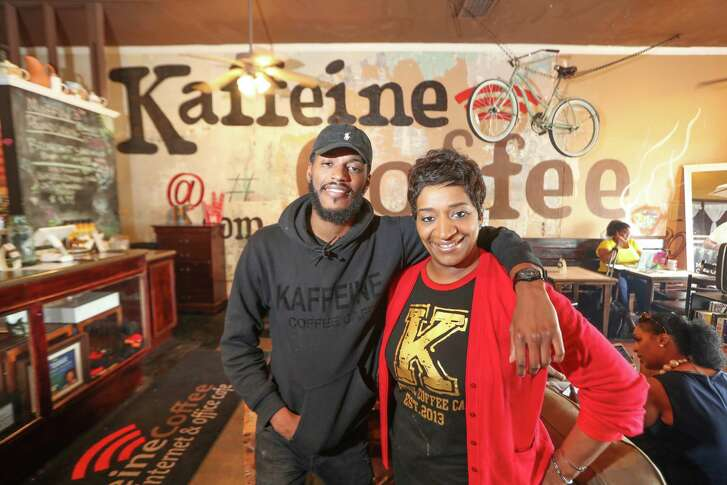 Christopher Rashard and his mother, Orgena Keener, co-owners of Kaffeine Coffee, pose for a photo Wednesday, April 18, 2018, in Houston. Kaffeine Coffee, a black-owned coffee shop in the Third Ward saw a boost in sales after two black men were arrested at a Starbucks in Philadelphia for waiting on a friend.( Steve Gonzales / Houston Chronicle )
