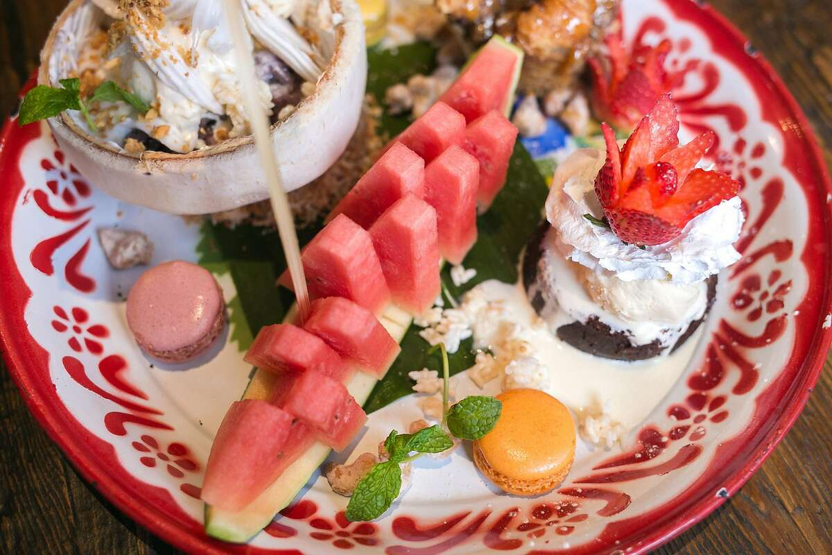 A variety of deserts served on a platter at Farmhouse Thai Kitchen.