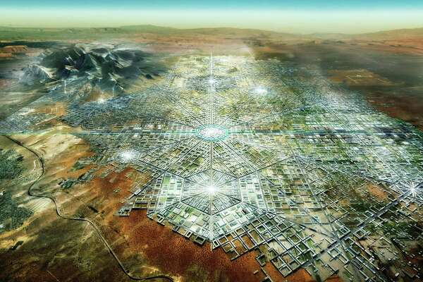 "A rendering shows architect Fernando Romero's imagined ""Border City,"" half in Mexico and half in the United States. The design was featured at the London Design Biennale, whose theme was ""Utopia by Design."""