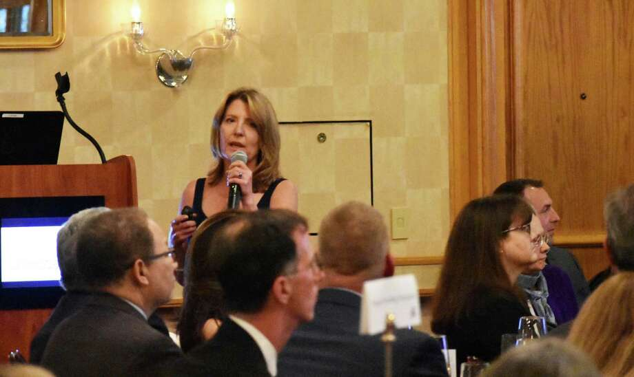 Bigelow Tea CEO Cindi Bigelow speaks to members of the Greater Norwalk Chamber of Commerce, during the group's annual dinner held April 18, 2018, at the Dolce Norwalk conference center in Norwalk, Conn. Photo: Alexander Soule / Hearst Connecticut Media / Stamford Advocate