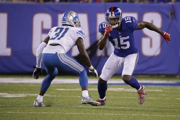 New York Giants' Brandon Marshall (15) plays as Detroit Lions' D.J. Hayden (31) defends during the second half of an NFL football game Monday, Sept. 18, 2017, in East Rutherford, N.J. The Lions won 24-10. (AP Photo/Julio Cortez)