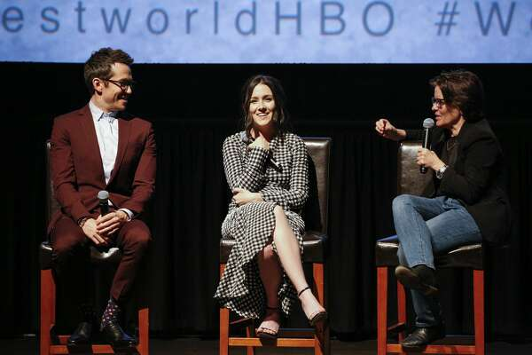 """SAN FRANCISCO, CA - APRIL 18:  (L-R) Simon Quarterman, Shannon Woodward and Kara Swisher attend the San Francisco Premiere of """"Westworld"""" Season 2 from HBO on April 18, 2018 in San Francisco, California.  (Photo by FilmMagic/FilmMagic for HBO)   The Season 2 premiere of HBO's """"Westworld"""" debuted early in San Francisco on Wednesday, April 18, 2018."""
