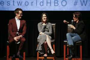 "SAN FRANCISCO, CA - APRIL 18:  (L-R) Simon Quarterman, Shannon Woodward and Kara Swisher attend the San Francisco Premiere of ""Westworld"" Season 2 from HBO on April 18, 2018 in San Francisco, California.  (Photo by FilmMagic/FilmMagic for HBO) 