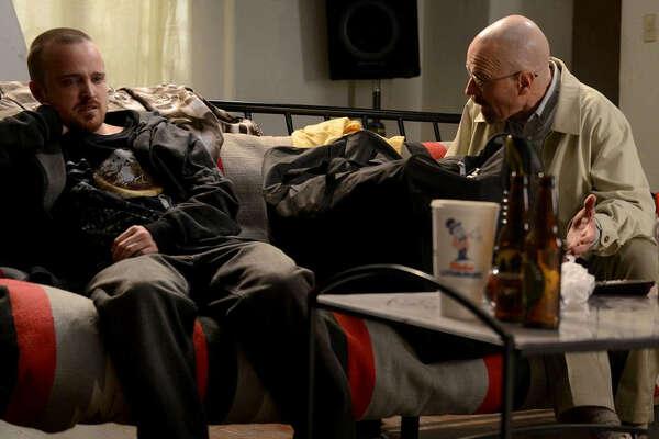 "(L-r) Aaron Paul and Bryan Cranston in ""Breaking Bad."""