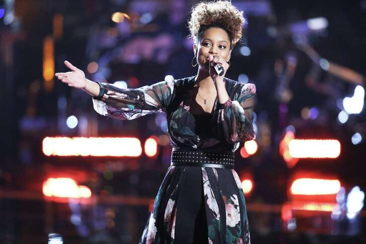 "Spensha Baker of San Antonio in one of her many incarnations performing on ""The Voice"" on NBC."
