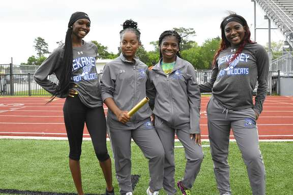 The 4x100 relay.team of Iyanla Santana, Arajanee Jackson, Kala Whitaker and Sharia Champion placed third (49.30) at the UIL District 16-6A Track and Field meet, Apr. 3-5, at Spring High School.