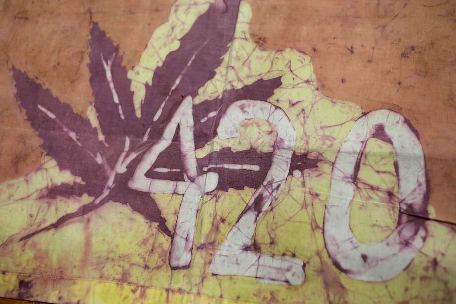 A Waldos 420 flag from 1972 made by a classmate of the Waldos' at San Rafael High School, at a bank vault in San Francisco. Photo: Eric Risberg / Associated Press