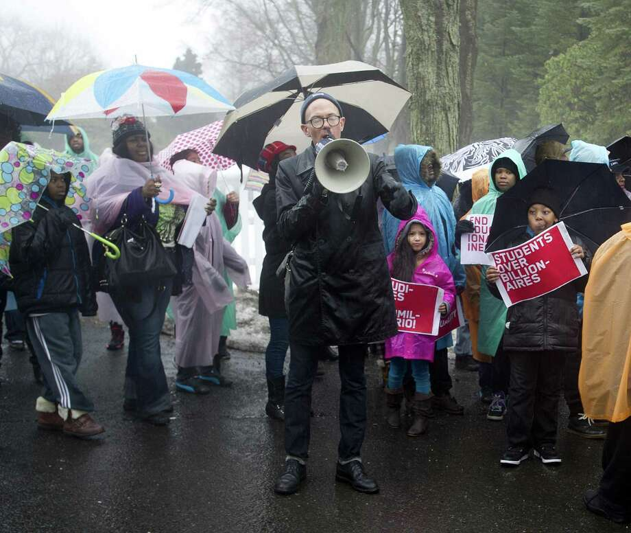 Protesters in Greenwich, Conn. in March 2015. In a study published April 19, 2018, Bloomberg determined that southwestern Connecticut had the fastest-growing gap in the nation between the top 1 percent of earners and those representing the middle class. Photo: Lindsay Perry / Lindsay Perry / Stamford Advocate