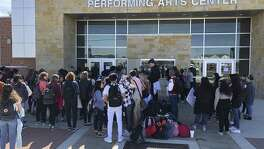 About 100 students at Canyon High School in New Braunfels demonstrated Wednesday for stricter gun control laws.
